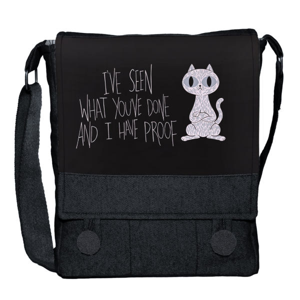 کیف دوشی دخترانه چی چاپ طرح گربه کد 65664