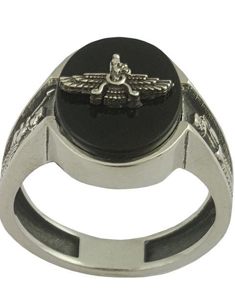 انگشتر نقره مردانه بلو استون کد 1070-63