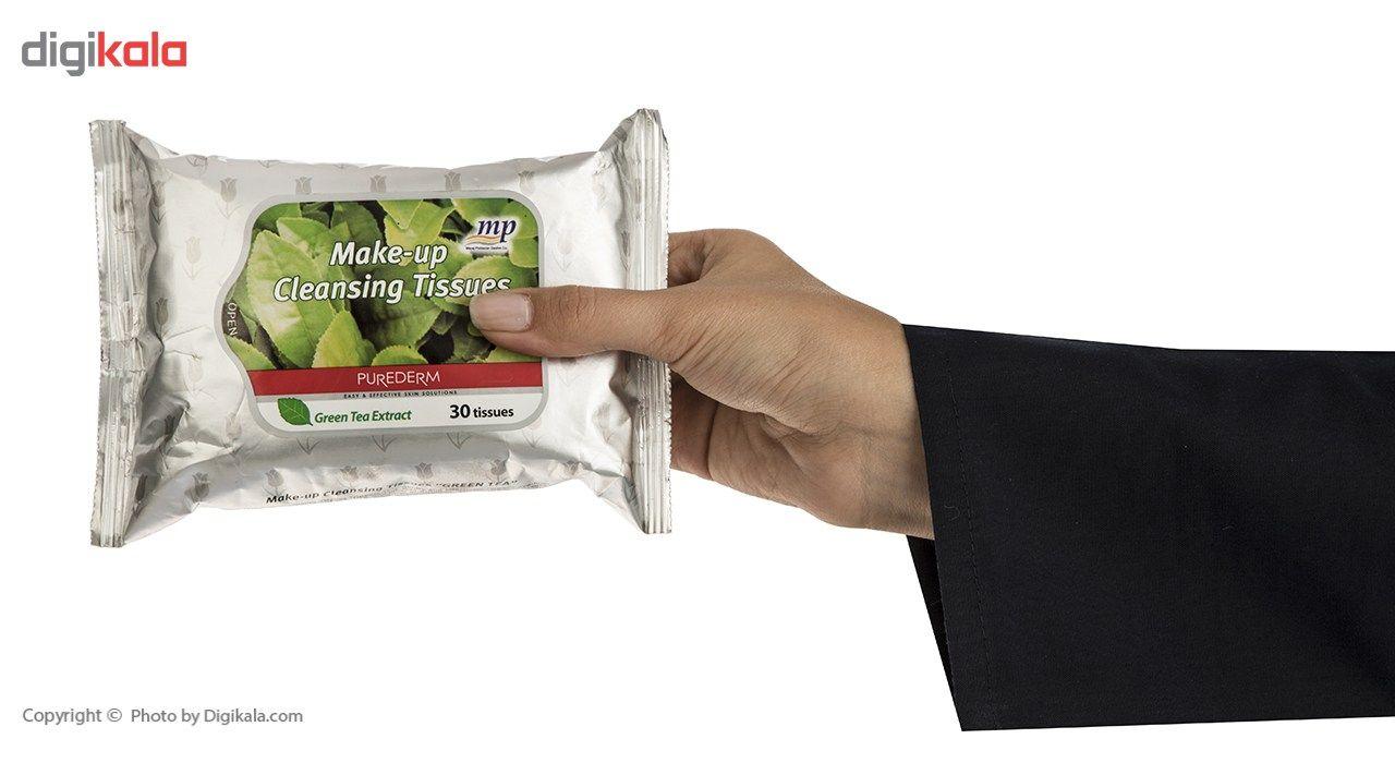 دستمال مرطوب پاک کننده آرایش پیوردرم مدل Green Tea Extract - بسته 30 عددی main 1 3
