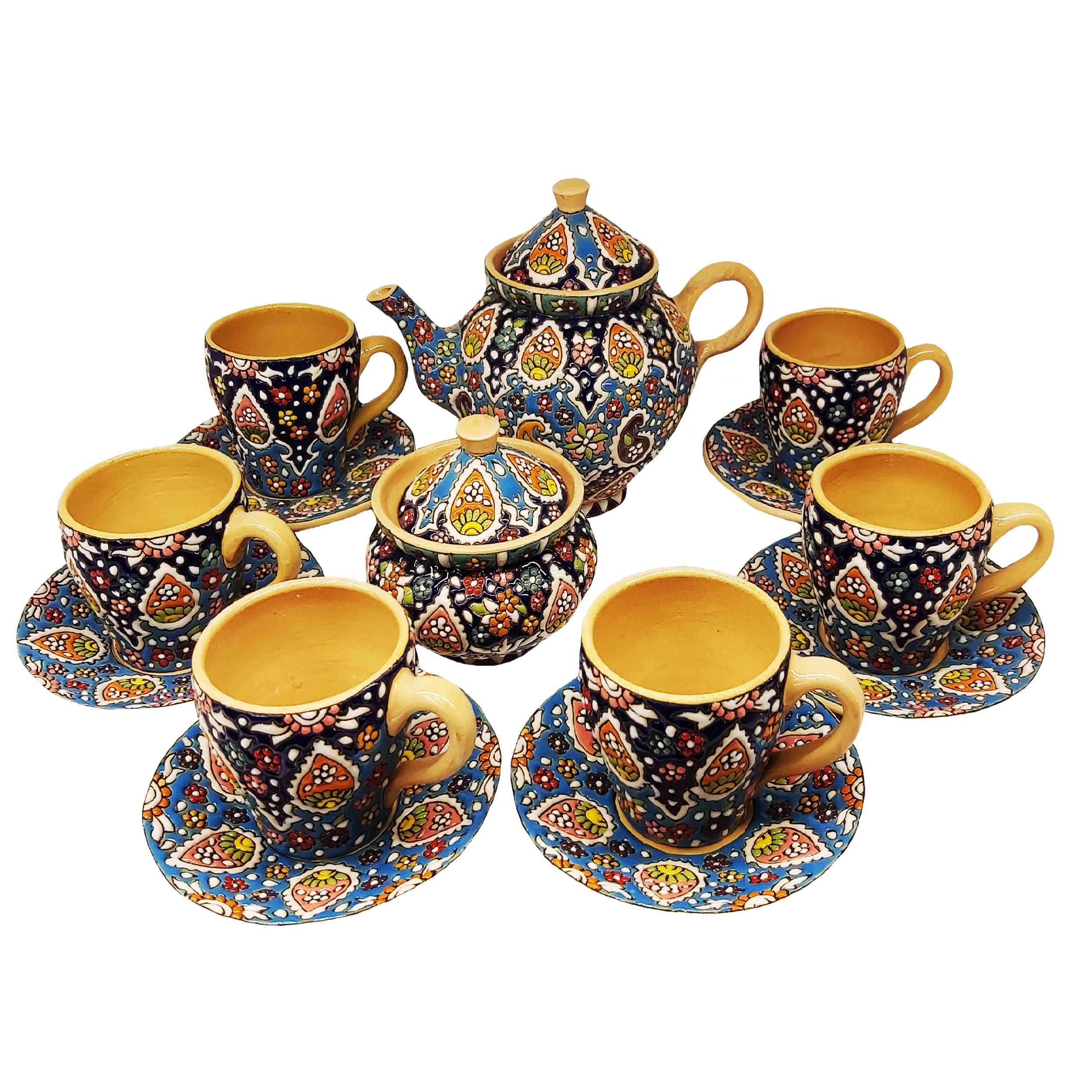 سرویس چای خوری میناکاری کد 9-12 مجموعه 14 عددی
