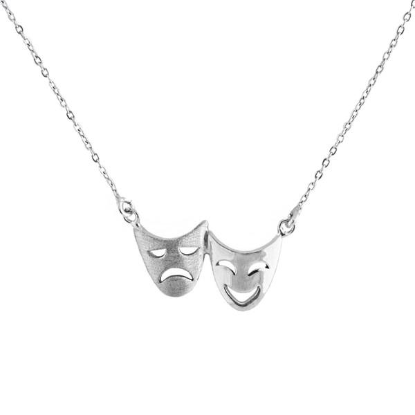 گردنبند نقره زنانه مدل اشک و لبخند کد DS307