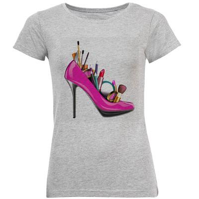 تیشرت آستین کوتاه زنانه طرح کفش کد F31