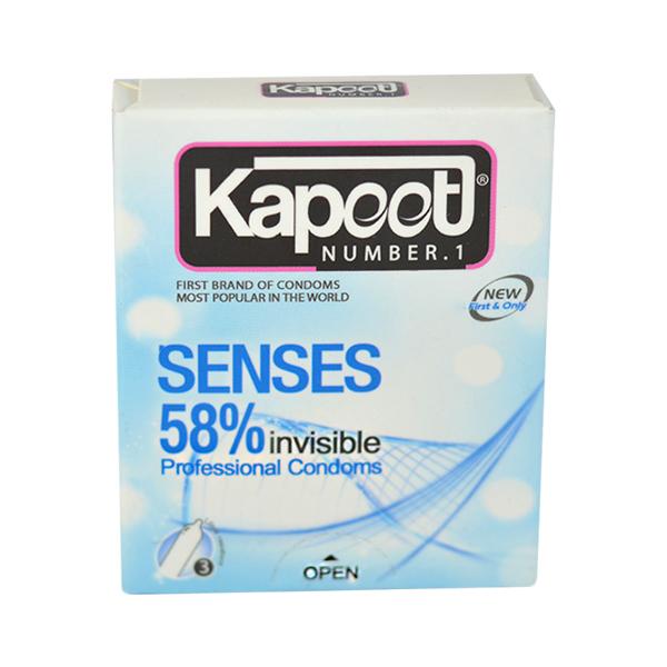 کاندوم کاپوت مدل  Senses 58% invisible بسته 3 عددی