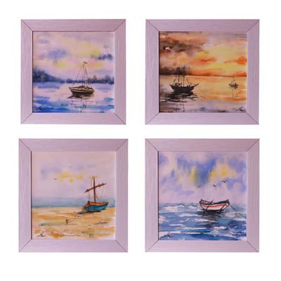 Photo of تابلو نقاشی آبرنگ طرح قایق و دریا کد RRS98-070 مجموعه ۴ عددی