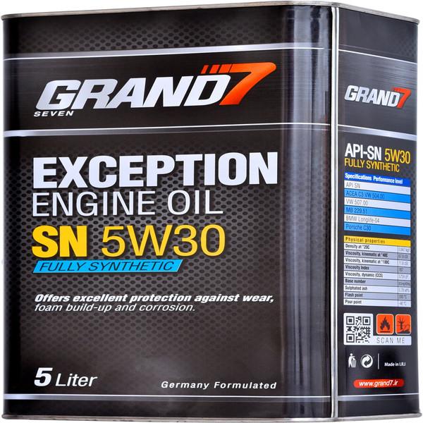 روغن موتور خودرو گرند سون مدل EXCEPTION 5W30 SN حجم 5000 میلی لیتر