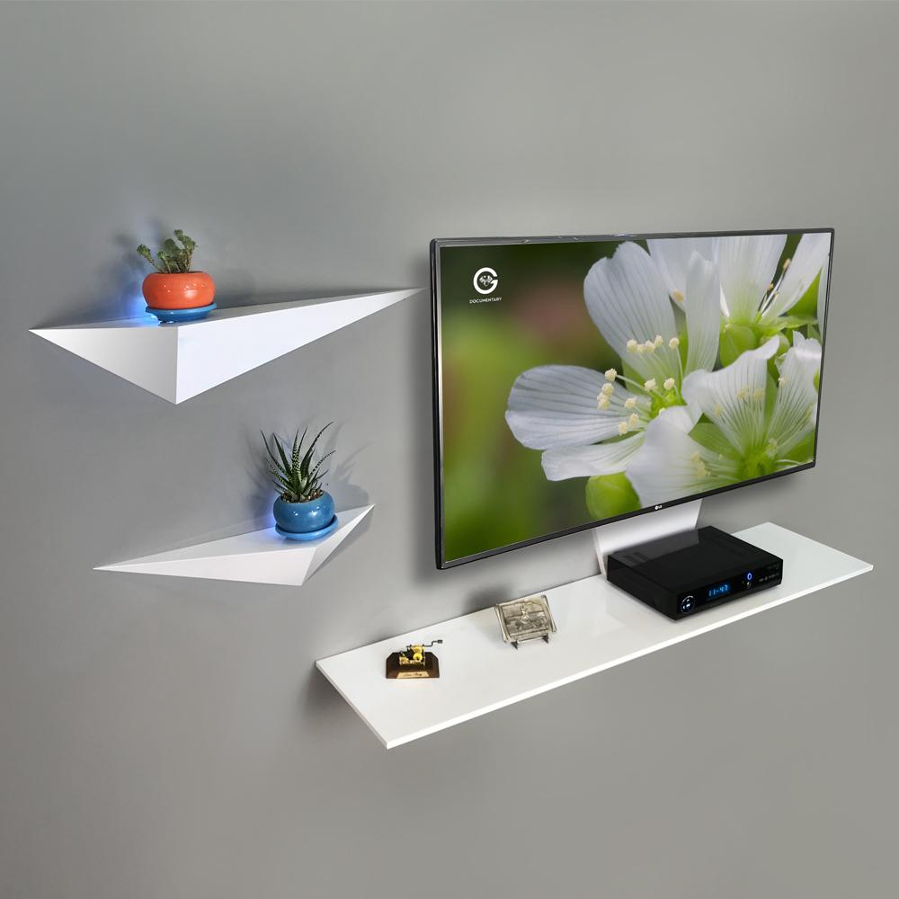 میز تلویزیون دیواری راهپود مدل نیلوفر همراه با 2 طبقه دیواری
