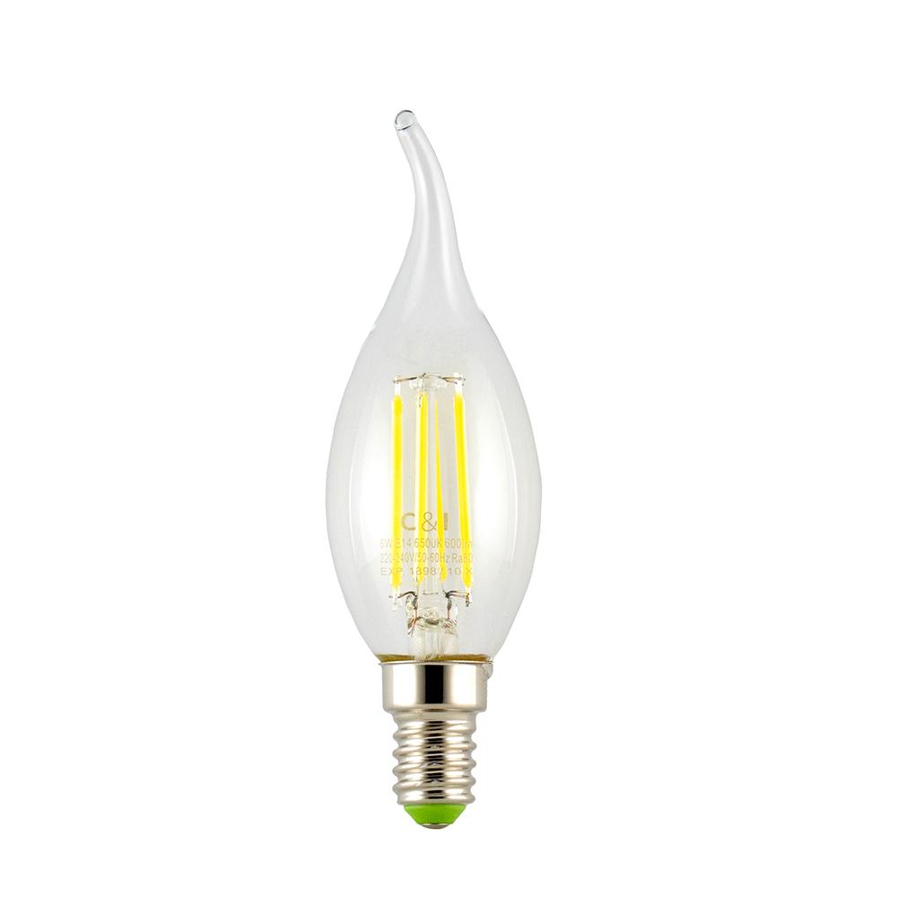 لامپ فيلامنتي ٦ وات سي اند اي مدل شمعي پايه E14