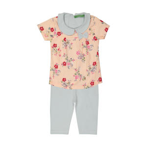 ست پیراهن و شلوار دخترانه گلها طرح بهار کد ۰۴
