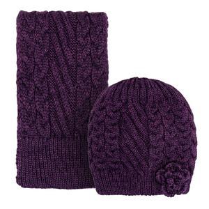 ست کلاه و شال گردن بافتنی دخترانه مدل 0318