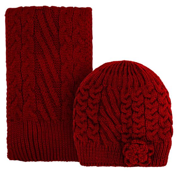 ست کلاه و شال گردن بافتنی دخترانه مدل 60318 رنگ زرشکی