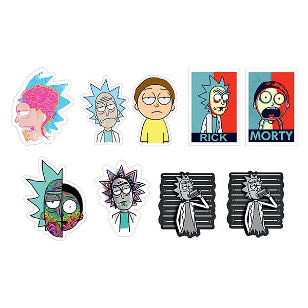 استیکر لپ تاپ طرح Rick&Morty کد 01 مجموعه 9 عددی