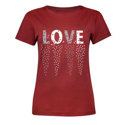 تی شرت آستین کوتاه زنانه طرح LOVE رنگ زرشکی