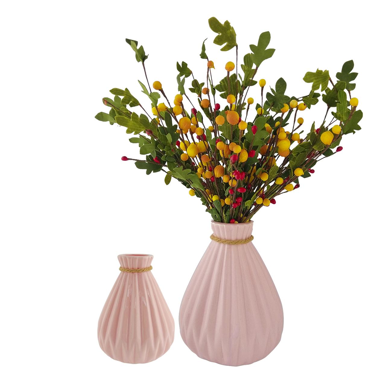 گلدان به همراه گل مصنوعی هومز طرح میوه کد 711316 مجموعه 2 عددی