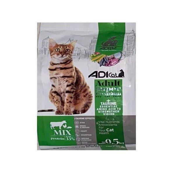 غذای خشک گربه آدی کت مدل سوپر پرمیوم میکس کد 01 وزن 0.5 کیلوگرم
