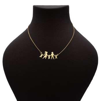 گردنبند طلا 18 عیار زنانه طرح خانواده کد 692M389