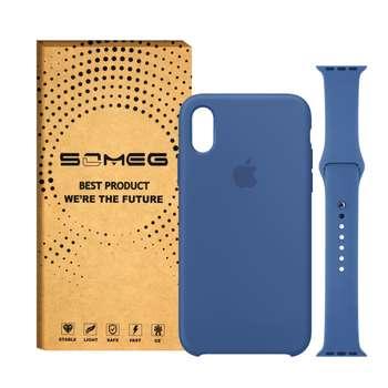 کاور گوشی سومگ مدل Silicone مناسب برای آیفون 10/X به همراه بند سیلیکونی ساعت اپل واچ 42 میلیمتری