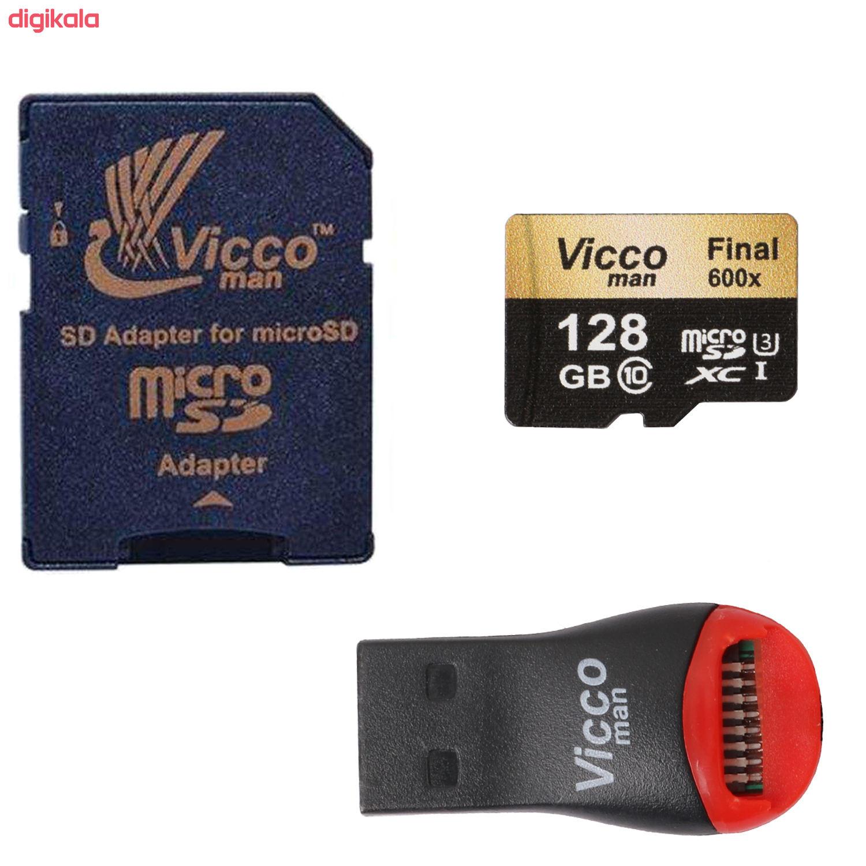 کارت حافظه microSDXC ویکومن مدل Final 600x plus کلاس 10 استاندارد UHS-I U3 سرعت 90MBs ظرفیت 128 گیگابایت به همراه آداپتور SD main 1 1