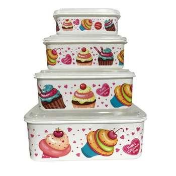 ظرف نگهدارنده فرش کیپس طرح کیک کد 03 مجموعه 4 عددی