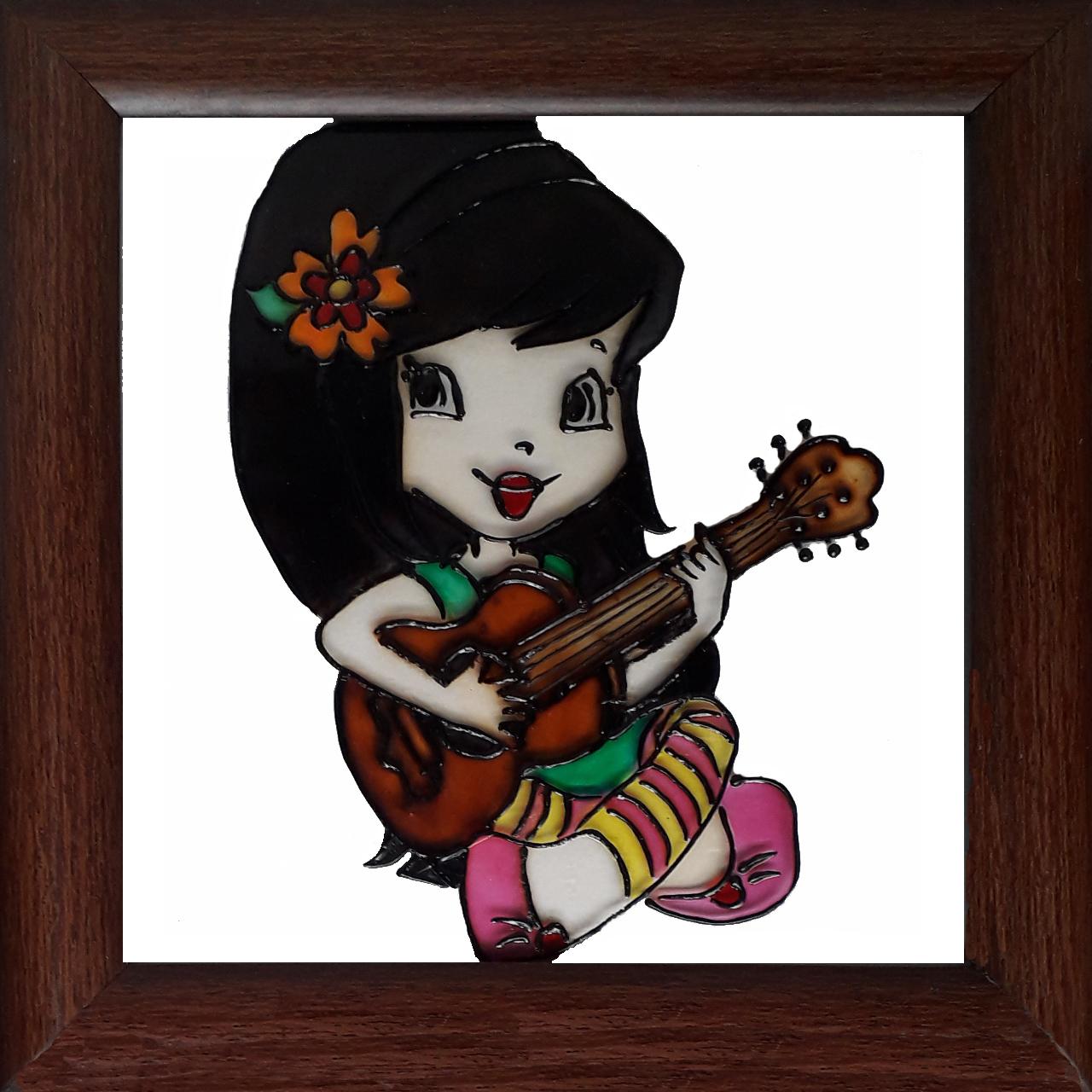 خرید                      تابلو ویترای طرح دختر گیتارزن کد 0060