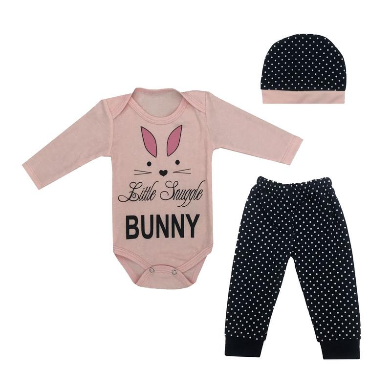 ست 3 تکه لباس نوزادی طرح خرگوش کد 101