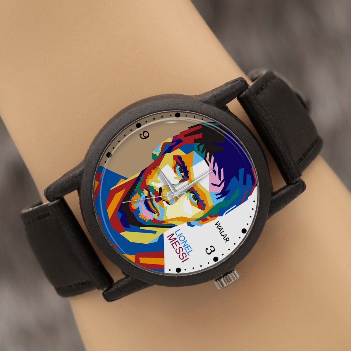 کد تخفیف                                      ساعت مچی عقربه ای والار طرح لیونل مسی کد LF2184