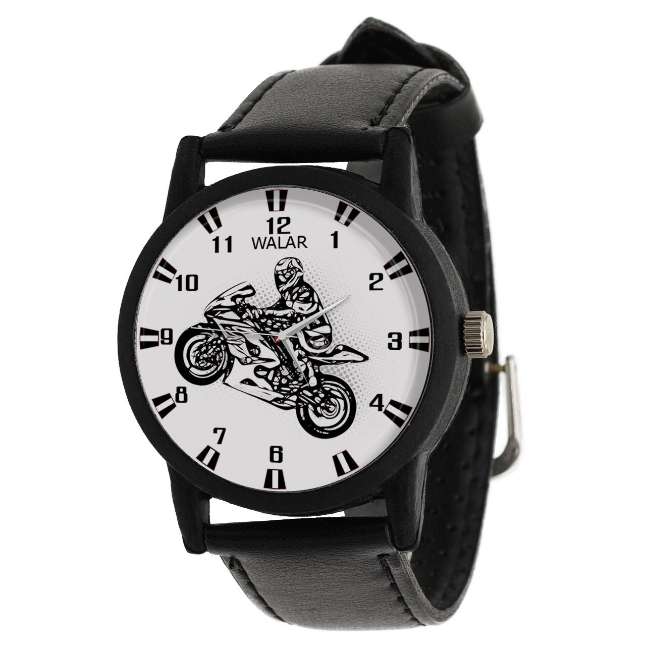 کد تخفیف                                      ساعت مچی عقربه ای مردانه والار طرح موتورسواری کد LF2196