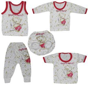 ست 5 تیکه لباس نوزادی طرح خرس کوچولو کد 101