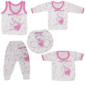 ست 5 تیکه لباس نوزادی دخترانه طرح خرس کوچولو کد 103