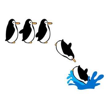 استیکر مستر راد طرح پنگوئن شیرجه زن کد 103