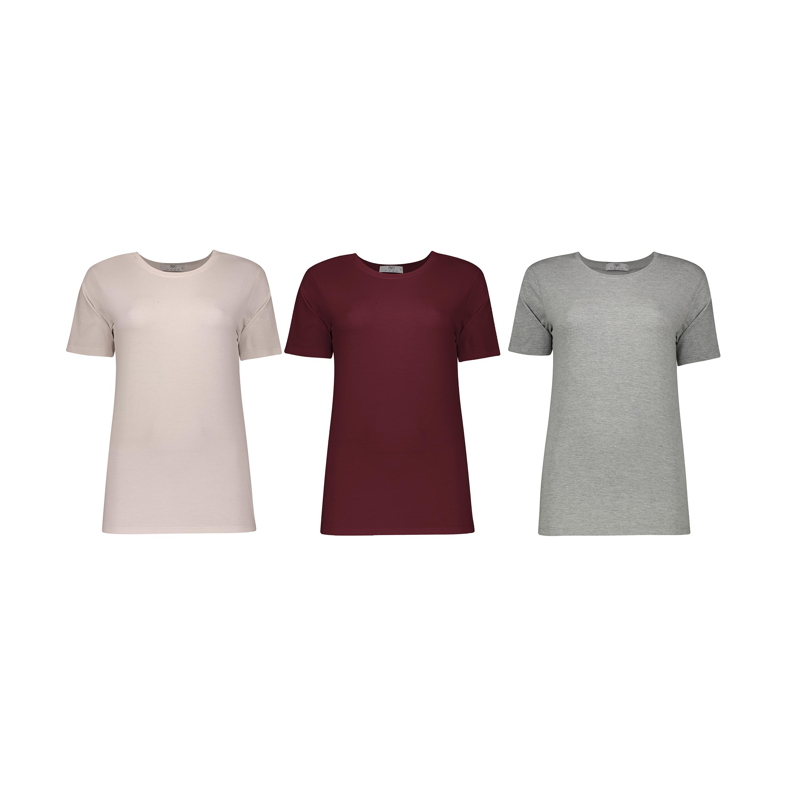 تی شرت زنانه مون مدل 1631147ML بسته 3 عددی