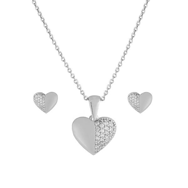 نیم ست نقره زنانه طرح قلب کد FL 304
