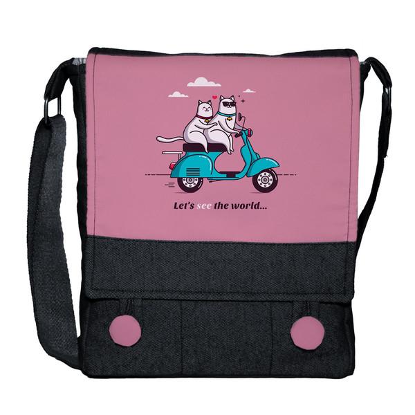 کیف دوشی دخترانه چی چاپ طرح گربه موتورسوار کد Vespa 65642
