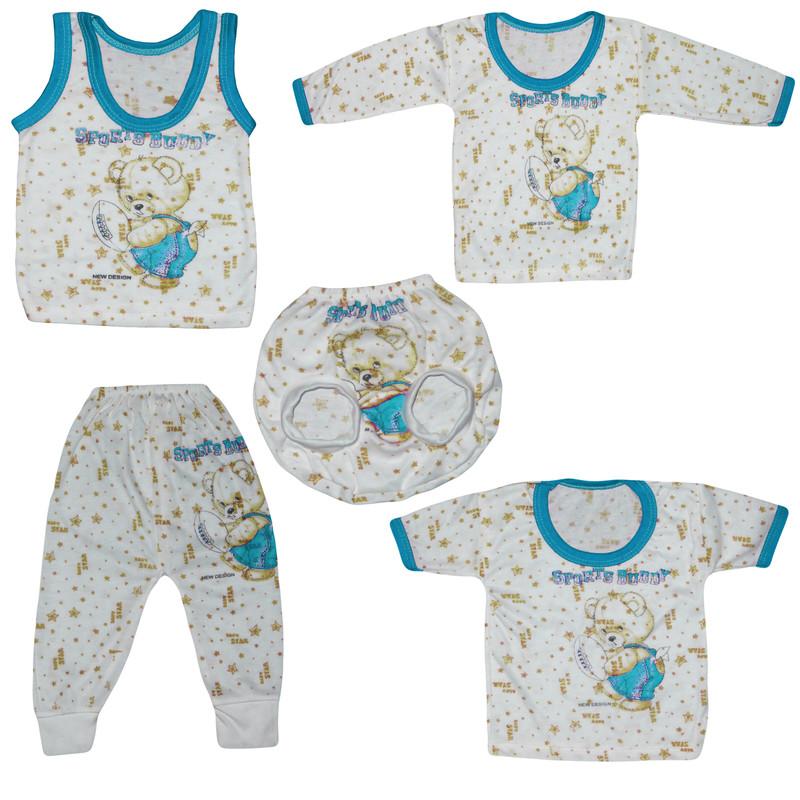 ست 5 تیکه لباس نوزاد طرح خرس کوچولو کد 106