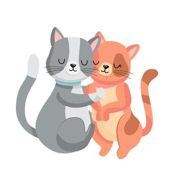 استیکر مستر راد طرح گربه های عاشق کد 051