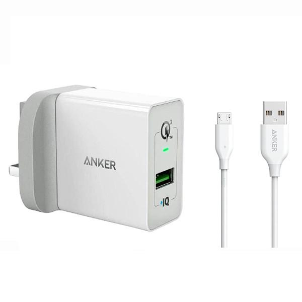 شارژر دیواری انکر مدل Power Port plus 1 B2013 به همراه کابل تبدیل microUSB