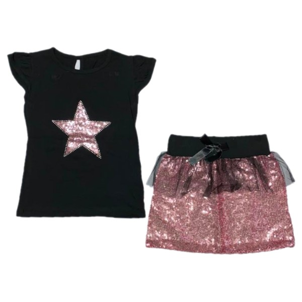 ست تی شرت و دامن دخترانه طرح ستاره