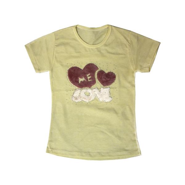 تی شرت دخترانه طرح قلب مدل A&S7173