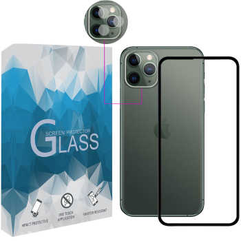 محافظ صفحه نمايش مدل FLGSP مناسب برای گوشی موبایل اپل iPhone 11 Pro به همراه محافظ لنز دوربین