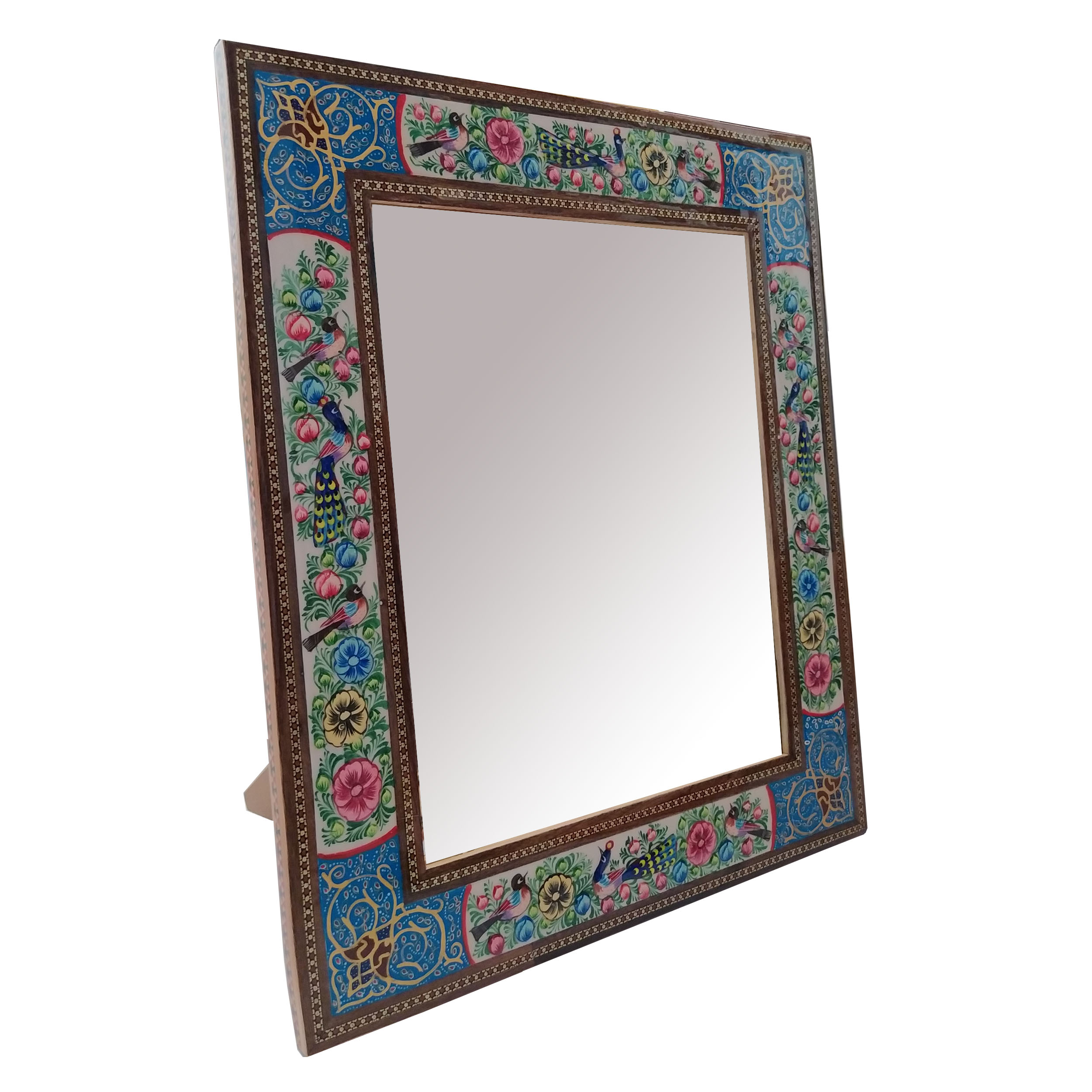خرید                      قاب آینه خاتم کاری مدل گل و مرغ کد 2330