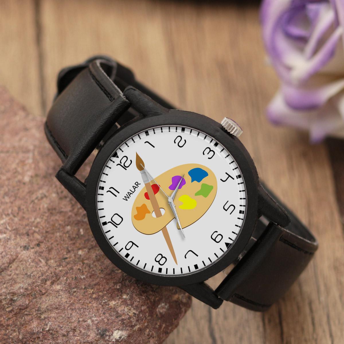 کد تخفیف                                      ساعت مچی عقربه ای والار طرح نقاش کد LF2348