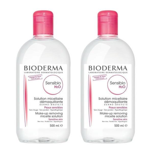 محلول پاک کننده آرایش صورت بایودرما مدل Sensibio H2O حجم 500 میلی لیتر مجموعه 2 عددی