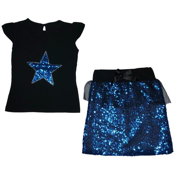 ست تی شرت و دامن دخترانه طرح ستاره کد ۶