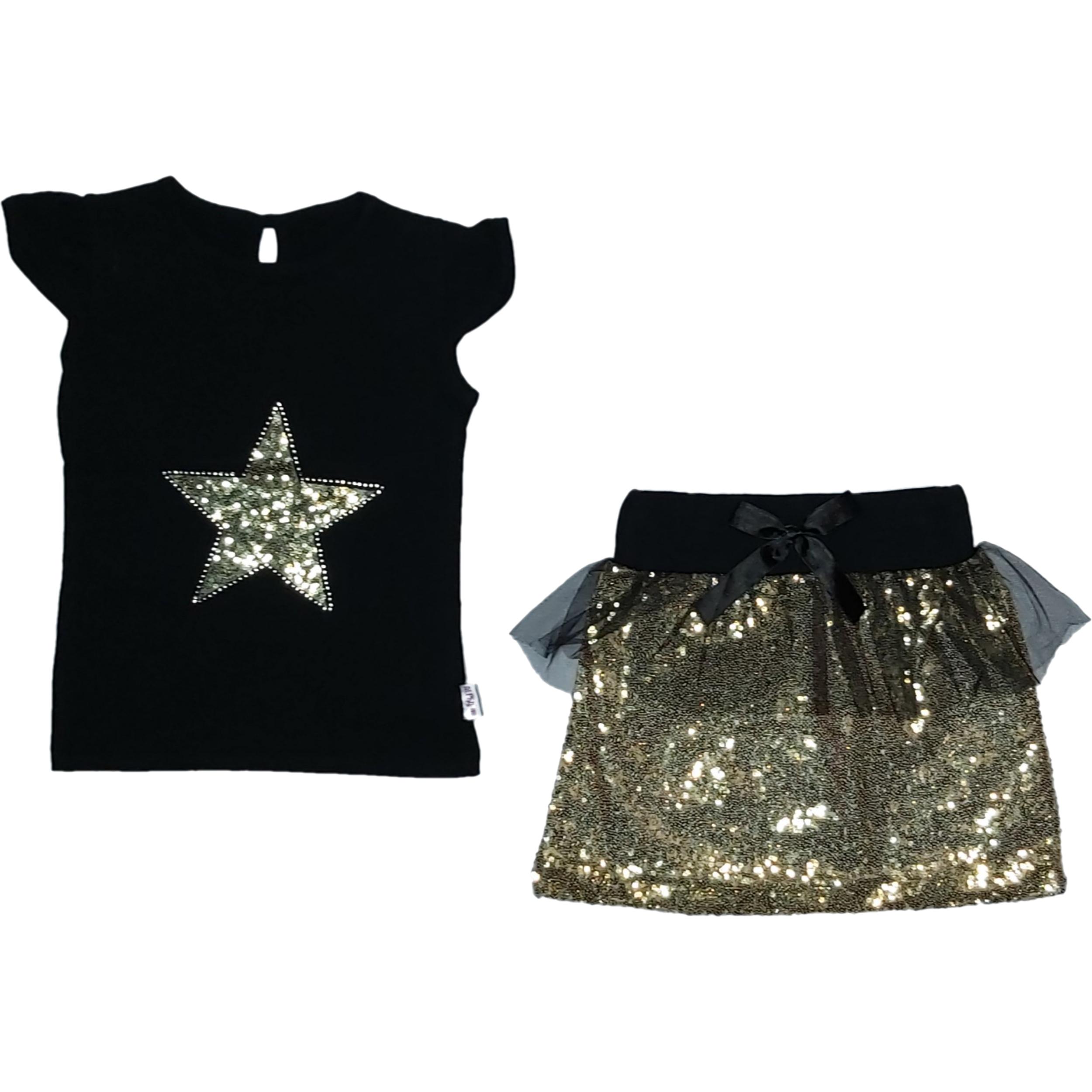 ست تی شرت و دامن دخترانه طرح ستاره کد ۴