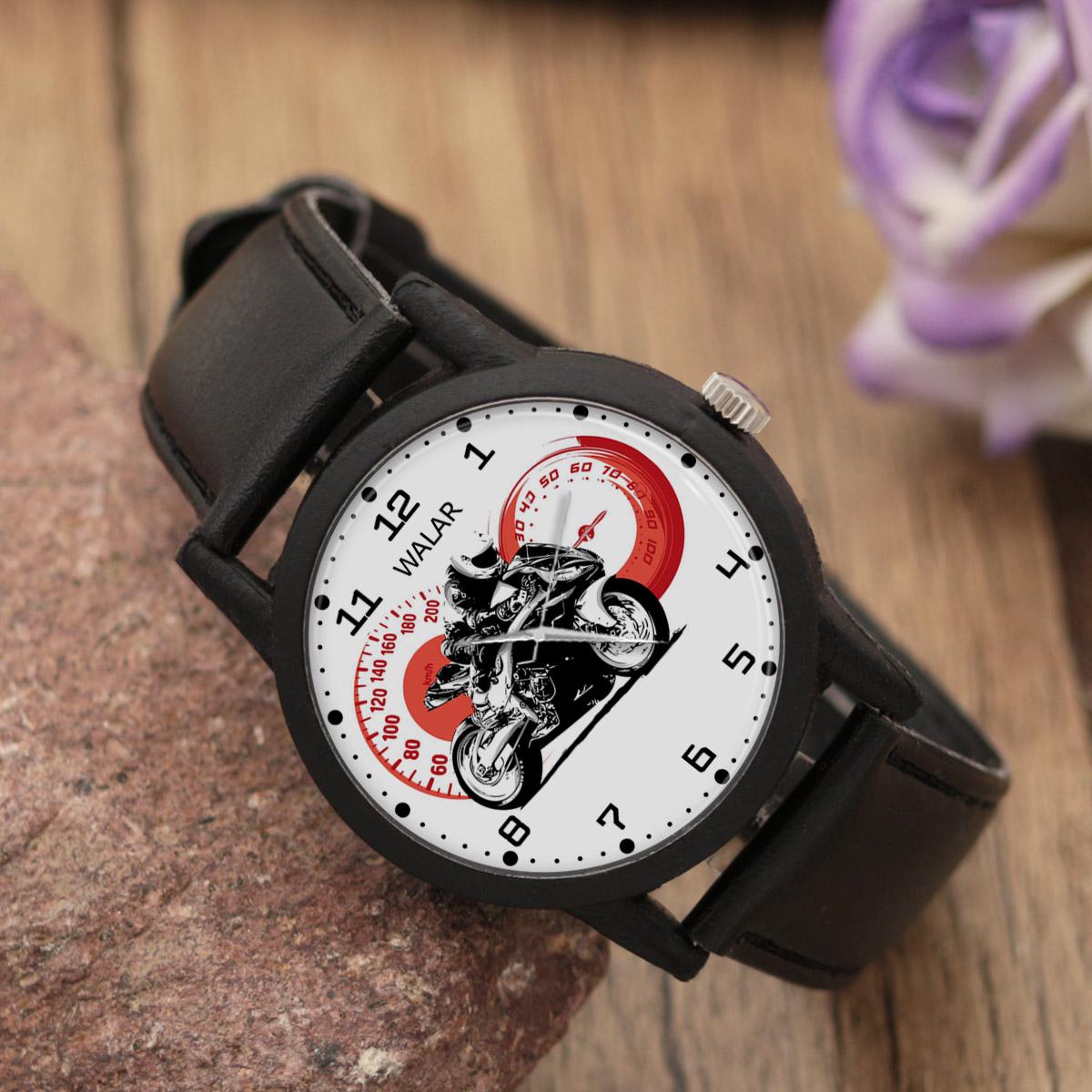 کد تخفیف                                      ساعت مچی عقربه ای والار طرح موتورسواری کد LF2440