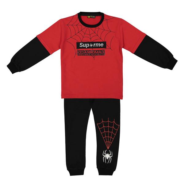 ست تی شرت و شلوار پسرانه خرس کوچولو طرح اسپایدرمن کد 301