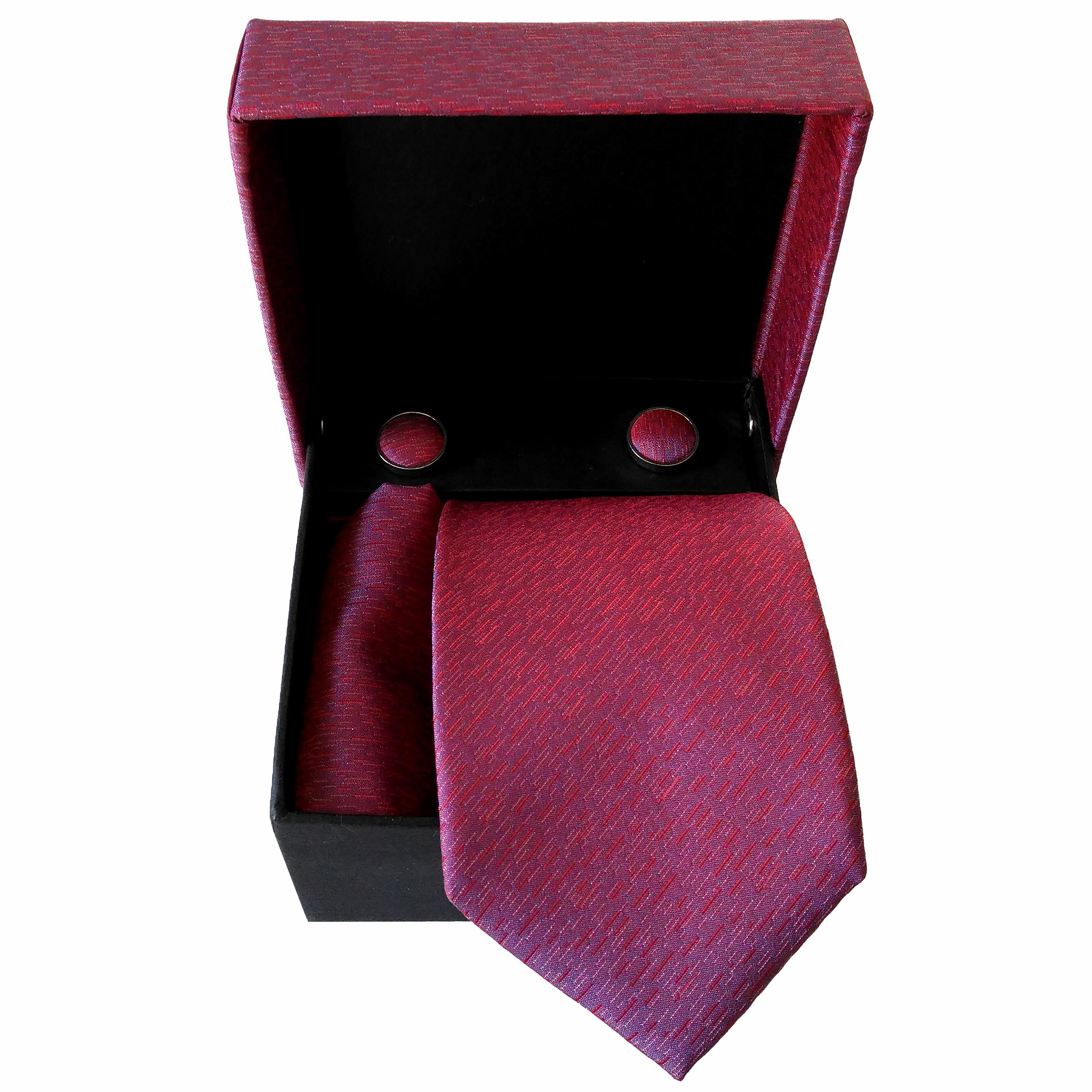 ست کراوات و دستمال جیب و دکمه سردست مردانه کد 250N