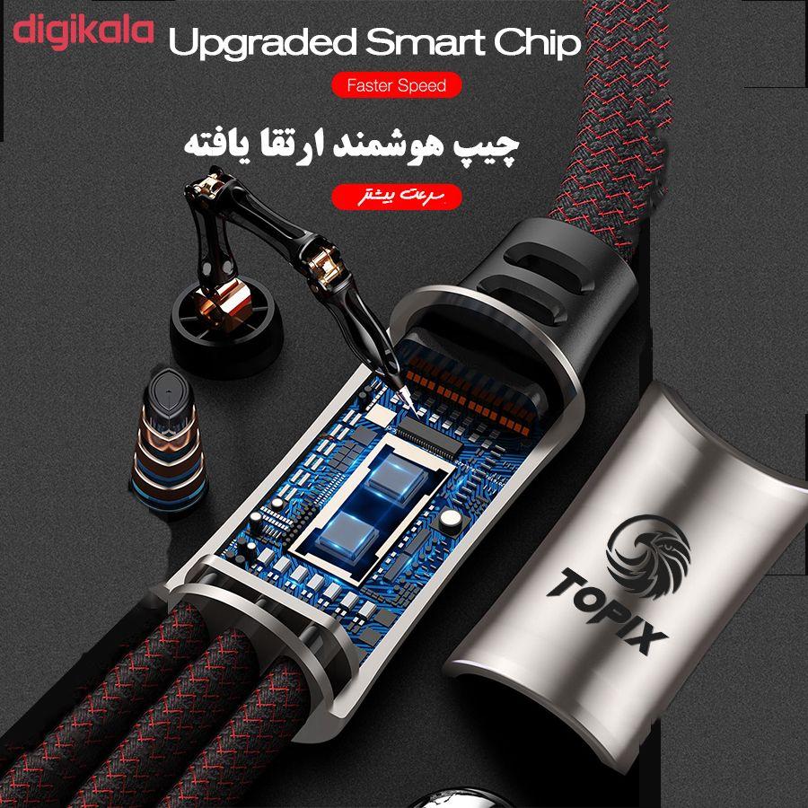 کابل تبدیل USB به لایتنینگ/USB-C/microUSB تاپیکس مدل TS-04 طول 1.5 متر main 1 1
