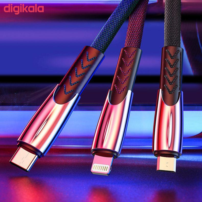 کابل تبدیل USB به لایتنینگ/USB-C/microUSB تاپیکس مدل TS-04 طول 1.5 متر main 1 2