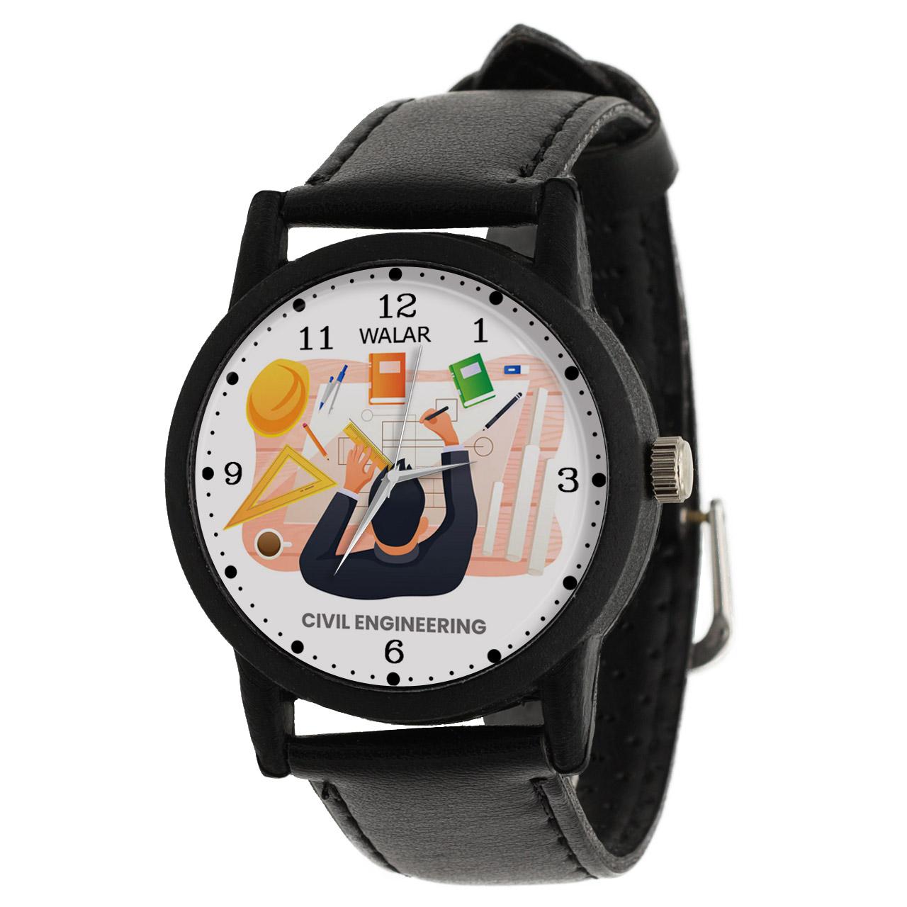 کد تخفیف                                      ساعت مچی عقربه ای مردانه والار طرح مهندسی عمران کد LF2599