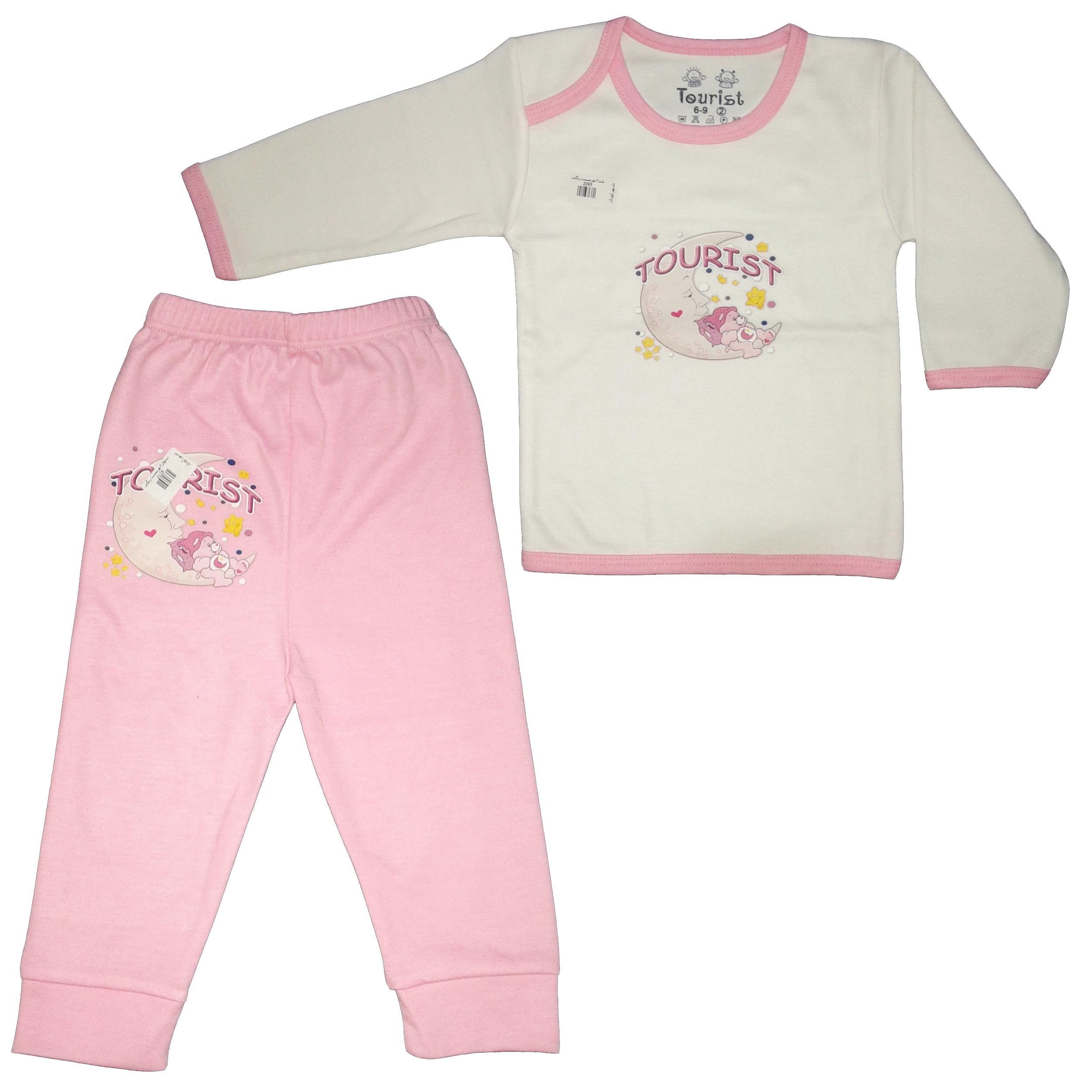 ست تی شرت و شلوار نوزادی دخترانه کد 011